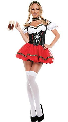 Kostüm Beer Sexy Maid - S-6XL Dirndl Deutsch Beer Maid Kostüme Frauen Oktoberfest Karneval Kostüm@ROT 5_M