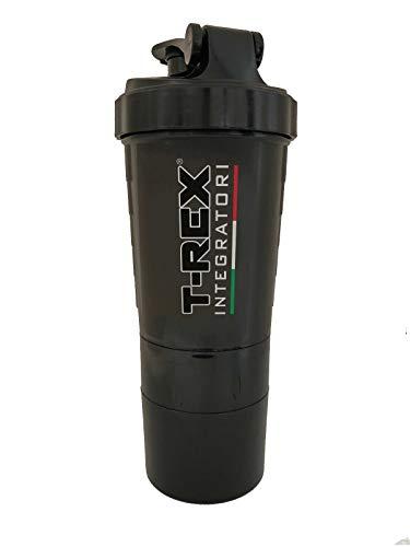 Shaker da 500ml T REX INTEGRATORI Per Proteine con Filtro Anti Schiuma e Anti Grumi Multi Scompartimenti con Porta Pillole e Porta Polvere