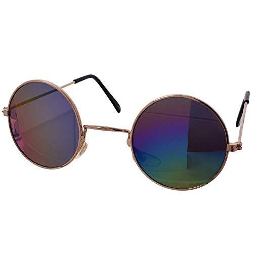TE-Trend 70er Hippie Karneval Brille rund Gold buntverspiegelt Kostüm Zubehör Partybrille Flower Power Lennon Osborne