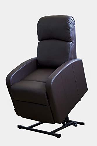 Astan Hogar Premium Confort Lift up Sillón Relax Con Función Auto-Ayuda Levanta Personas Y Reclinación Eléctrica, Tapizado Anti-cuarteo Chocolate, Compacto