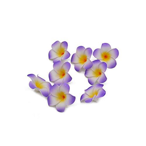 Strawberryran Plumeria 10Pcs 06.05/08.07 / 9cm Künstliche Kranz Kopfschmuck Frangipani Ei-Blumen-Köpfe Hochzeitsdeko, Weiß, M Cherry Blossom Vase Medium