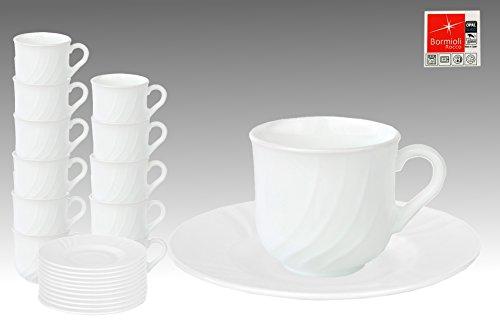 12er Set Bormioli Rocco EBRO Kaffeetasse, 220 ml + Untertasse Ø 160 mm im Set, Opal-Hartglas