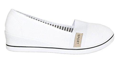 Elara Keilpumps Wedges | Bequeme Sportliche Damen Pumps mit Keilabsatz 483-Y-Weiss-37 Weiße Wedge Sneakers