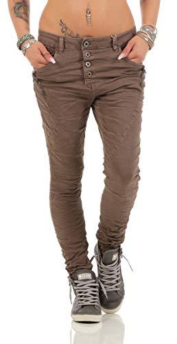 Fashion4Young 11424 LEXXURY Damen Jeans Röhrenjeans Hose Boyfriend Baggy Haremscut Damenjeans Slim-Fit (Dunkelbraun, M-38)