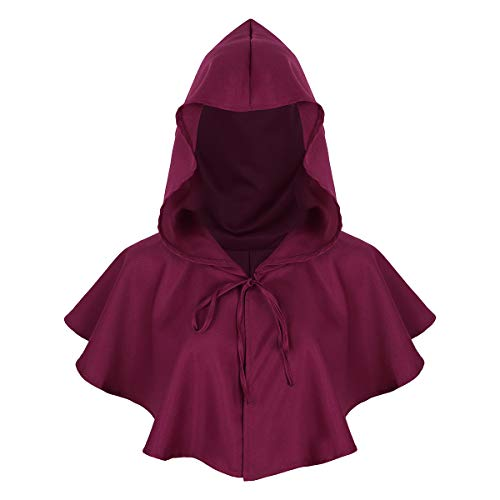 Teufel Flügel Rote Kostüm - Agoky Unisex Kapuzen Umhang kurz Cape Mantel Gothic Teufel Gruselig Halloween Kostüm Zubehör Burgundy One Size