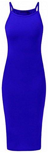 MIXLOT Damen High Neck Plain Spaghetti Bodycon Strappy Cami Sommer Midi Kleid Königsblau