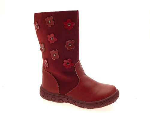 NEW GIRLS KIDS CHILDRENS FAUX SUEDE LEATHER FLOWER BIKER RIDING BOOTS RED SHOES SIZE UK 9