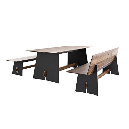 Conmoto Tension Wood Set, anthrazit nussbaum Tisch H 73 x B220 x T90cm Bank H 42 x B220 x T45cm Bank mit Rückenlehne H 76 x B220 x T57cm -