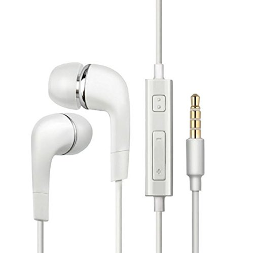 ✨ Net Solutions ✨ Auriculares intraurales bajo estéreo con micrófono para Apple iPhone, Android, smartphones, tablets (color blanco)
