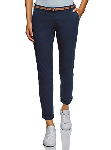 Oodji ultra donna pantaloni chino con cintura, blu, it 48 / eu 44 / xl