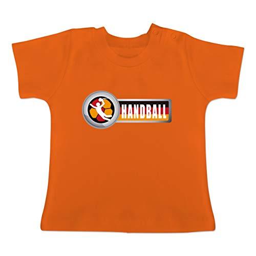 Handball WM 2019 Baby - Handball Deutschland 2-1-3 Monate - Orange - BZ02 - Baby T-Shirt Kurzarm