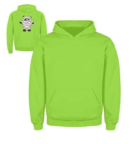 Shirtee Kleiner Pandabär mit Mumie Kostüm - Halloween Design für alle Panda Fans und Bären Freunde - Kinder Hoodie -3/4 (98/104)-Limetten Grün (Kostüm Bären, Kleine Drei Halloween)