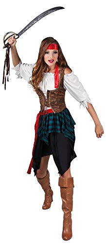 com-four® Piraten-Kostüm für Erwachsene - Ideal für Karneval, Motto-Partys und Kostümveranstaltungen (Piratin Kostüm Gr. 36/38)