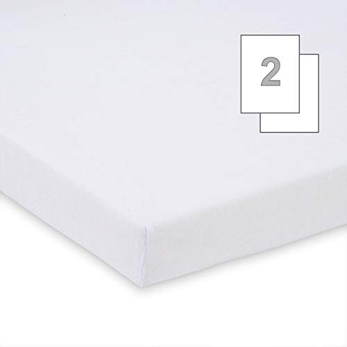 Doppelpack FabiMax 3540 Frottee Spannbettlaken für Beistellbett und Wiege, 90 x 40 cm, weiß