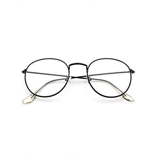 WooCo Retro Brille für Damen und Herren, Ausverkauf Fashion Frame Flat Mirror Transparente Brille Frame Five Color(Schwarz,One size)