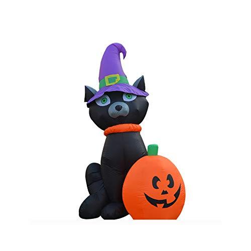 Qys Halloween Terror Thema Zusammenkommen Abschlussball Dekorative Requisiten Aufblasbar Schwarze Katze Einen Hut Tragen Kürbis Puppe