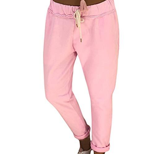 osen Solid Elastische Taille Yoga Capris Boho Check Hosen Haremshose Sommer Elegant JoggeHose Jersey-Hose Rosa 5XL ()