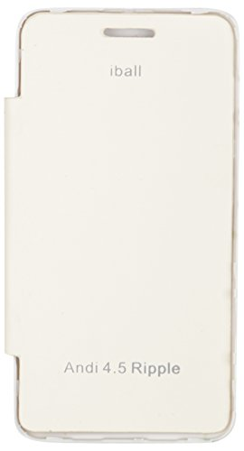 iCandy™ Synthetic Leather Flip Cover For iBall Andi 4.5KKe+ - WHITE  available at amazon for Rs.170