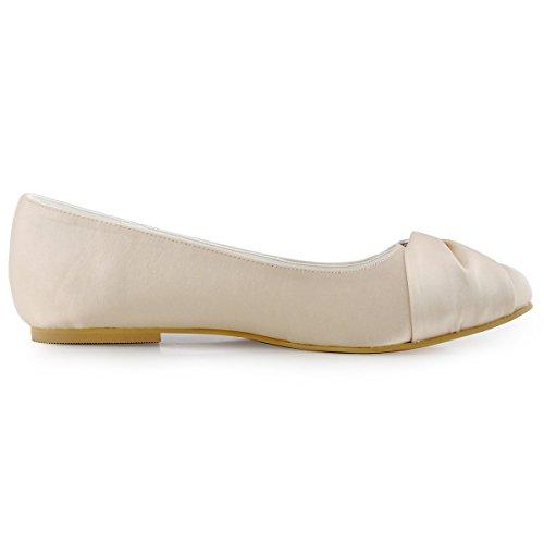 Elegantpark EP2006 Satin Bout Ferme Arc Glitte Plates Femme Chaussures de Mariage Champagne