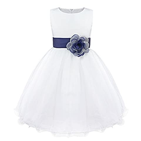 Girls Dress Flower Tulle Wedding Pageant Bridesmaid Christening Princess Kids Clothes 2-14 Years Navy Blue 4 Years