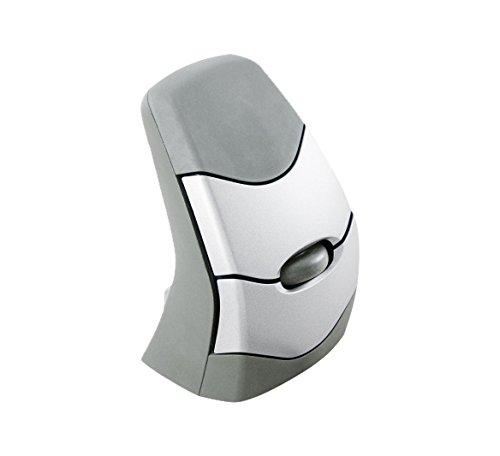 Bakker Elkhuizen DXT - Ratón de precisión (3 botones, forma inalámbrica, vertical) color gris y plata