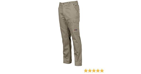 Pantaloni da Lavoro in Cotone 100/% Multi Stagione Vestibilit/à Regular Tasche Laterali Portametro Bande Reflex Colore: Khaki CHEMAGLIETTE Taglia: 3XL