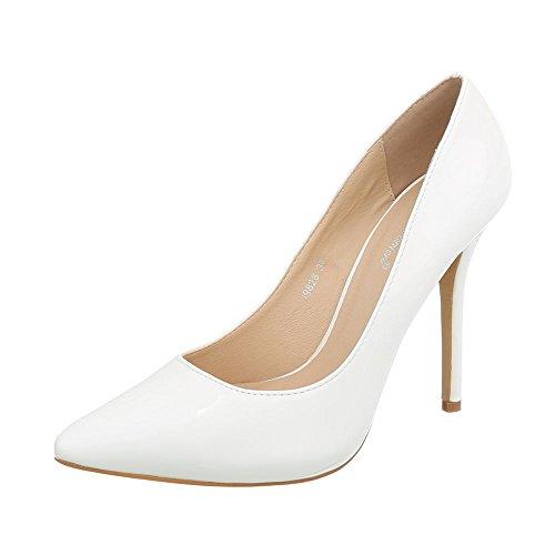 Ital-Design High Heel Pumps Damen-Schuhe Pfennig-/Stilettoabsatz Heels Weiß, Gr 37, I9828-