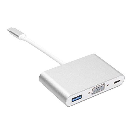 Tipo C a adaptador de concentrador VGA, ARKTEK 3-en-1 USB-C a VGA USB3.0 Tipo-C adaptador de carga y convertidor de vídeo para el nuevo MacBook ChromeBook Pixel HDTV Proyector y más dispositivos de tipo c (plata)