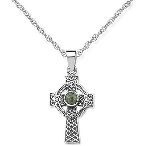 Iona croce celtica scozzese, in argento con pietre, con collana 55,88 (22 cm - Croce Celtica Iona