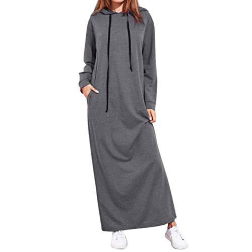 OverDose Damen Herbst Daily Sport Style Frauen Maxi Kleid Langarm mit Kapuze Damen Casual Hoodies Golf Outdoor Dating dünne Lange Kleideruff08Grauuff0cEU-40/CN-Muff09
