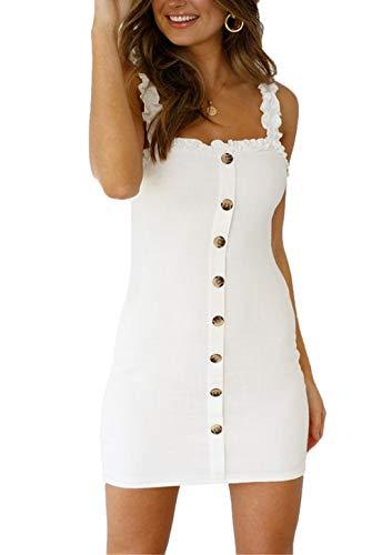 Ajpguot Sommer Damen Trägerkleid Sexy Rückenfrei Bandage Kurz Kleider Minikleid für Nachtclub Club Mode Einfarbig Etui Kleid Partykleider Abendkleider Cocktailkleid Wickelkleider (XL, Weiß)