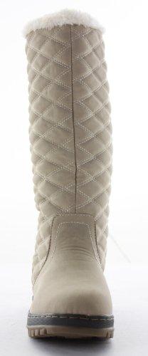 shoefashionista - Bottes De Neige Femme Cavalieres Plates Mollet Motardes Chaussures Taille Beige