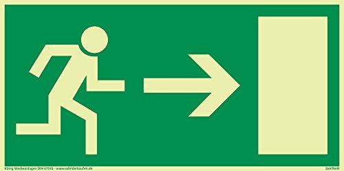 Schild Notausgang Pfeil rechts langnachleuchtend 297x148mm PVC selbstklebend gemäß BGV 8A (Fluchtwegschild Notausgang Rettungszeichen Rettungsweg Rettungsschild) Dreifke®