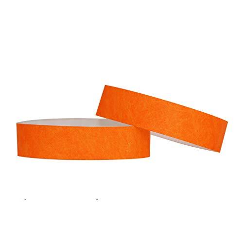 Confezione di 100braccialetti in carta Tyvek, 19mm, per eventi, festival,indistruttibili e personalizzabili,12colori disponibili 19mm arancione fluo