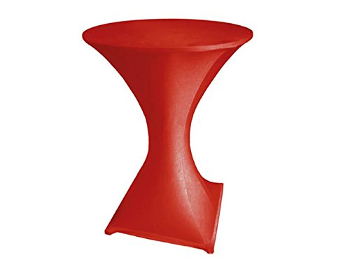 Robuster Stehtisch / Klapptisch als Komplettset mit Strech Husse, rot, Partytisch Bistrotisch