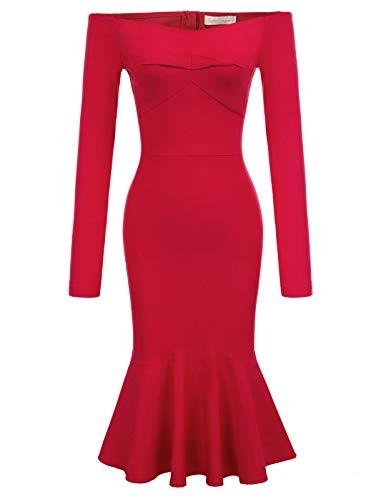 Belle Poque BP2001 - Abito da Donna, a Maniche Lunghe, a Matita, Stile Vintage Anni '50 Bp2001-2(Rot) L