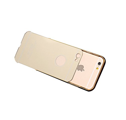 Minto Luxus Aluminium Metall Spiegelhülle Schutzhülle + Panzerglasfolie iPhone 5 / 5S / SE Spiegel PC Rückseite Case Cover Hülle Gold + Metall Bumper Rahmen Echtglas Hartglas Schutzfolie 9H Rosegold -s6