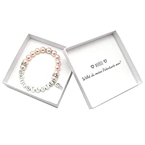 Patentante Armband in Schachtel, Willst du meine Patentante sein Box, Perlenarmband