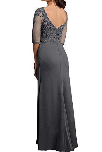 TOSKANA BRAUT Damen Elegant bodenlang V-Ausschnitt Halber Arm Ruekenfrei Chiffon Tuell Spitze Applikation Falte Brautmutterkleid Abendkleid Partykleid Grape