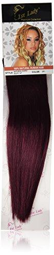 1 St Lady soyeuse droite trame européenne naturel extension de cheveux humains avec de mélange tissage, Nombre SP1, bordeaux foncé, 35 cm