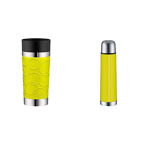 ALFI to-Go Genuss Set bestehend aus Kaffeebecher isoMug Plus Soft, Edelstahl Apfelgrün 0,35 l + Isolierflasche Isotherm Eco, Edelstahl Apfelgrün 0,75 l, für Heiß und Kalt, 100% dicht, BPA-Free