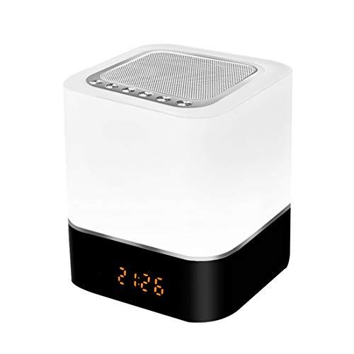 Drahtloser Bluetooth-Lautsprecher mit Touch-Control-Nachttischlampe, Wecker, MP3-Player, tragbarer Smart-LED-Touch-Sensor-Tischlampe Dimmable RGB-Multi-Color-Nachtlicht, Alles in 1 (Leistungsstarke Mp3-player)