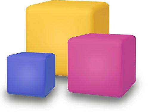 Telefunken Cube Solar Gartenleuchten, im 3er-Set, 20 cm mit 30 cm und 40 cm Würfel, kabellos, optional: sanfter Farbwechsel, austauschbarer Akku, schwimmfähig