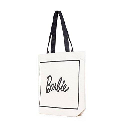Barbie Borsa di Mano Colpire i Colori a Lettere Stampate in Tela da Donna Ragazza Bambina Colore Nero Bianco#BBFB586(S) Bianco