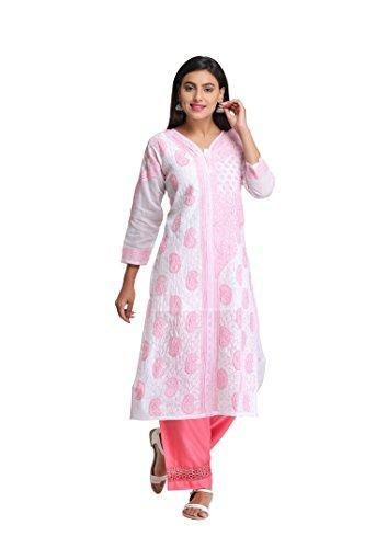 ADA Handcrafted Lucknowi Chikankari Regular Fit Cotton Kurti (A253799_White)