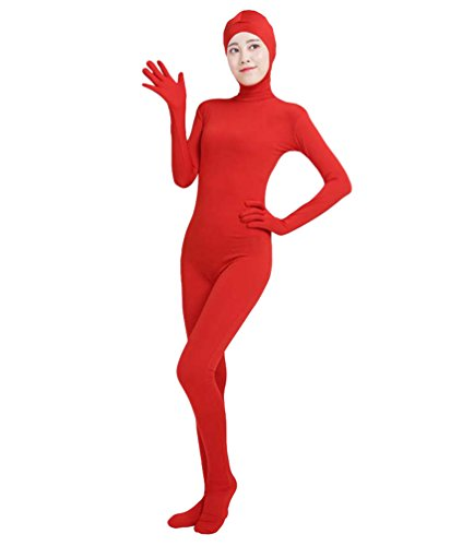 NiSeng Erwachsener und Kind Ganzkörperanzug Breathable Catsuit Face Offene Anzug Suit Kostüm Rot M (Catsuit Unitard Kostüm)