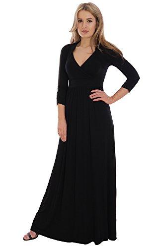 MQC Langes Damenkleid Maxikleid Jersey Schwarz 3/4 Arm Empire Stil (48)