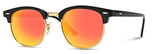 DL-forever Unisex Retro Vintage Sonnenbrille im angesagte 60er Browline-Style mit markantem Halbrahmen Sonnenbrille,Brillen trends 2019,Horn Gestell Halbrahmen Polarisierte Sonnenbrille