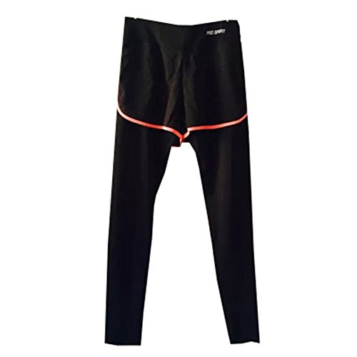 DaBag Donna Yoga Leggings Pantaloni Elasticizzati Correre Jog Culotte Shorts Lunghi Cotone Sport Palestra Athletic Pantaloncini Stretti Fitness nero-5