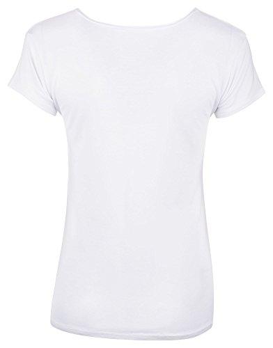 Loomiloo Tshirt Shirt Logoprint Damen T-Shirt Top Oberteil Guilty Mercy Guilty Weiß